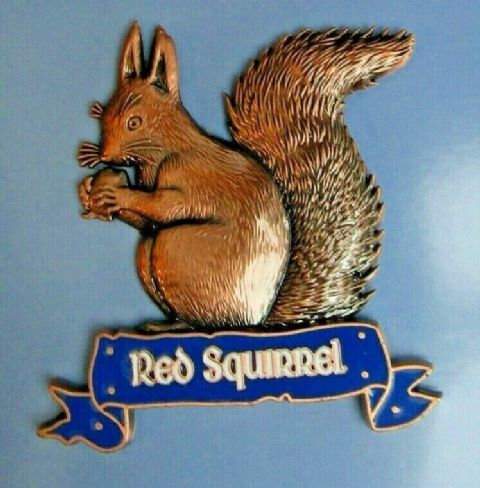 RED SQUIRREL FRIDGE MAGNET HEAVY DUTY METAL 3D MAGNET IN BRONZE ANTIQUE STYLE